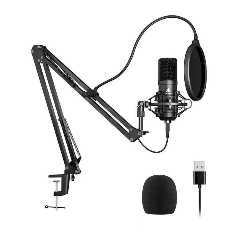 Microfono profesional con soporte y anti pop para stream