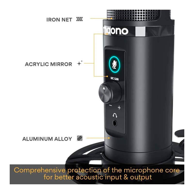 Microfono gamer con control de volumen mute y monitor de audio